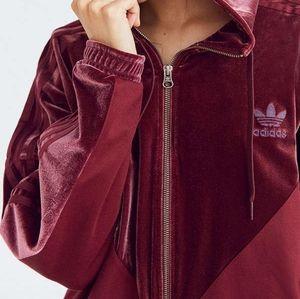 Burgundy Adidas velvet zip-up!